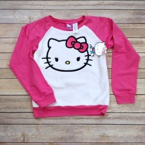 Hello Kitty pink & white fleece pullover